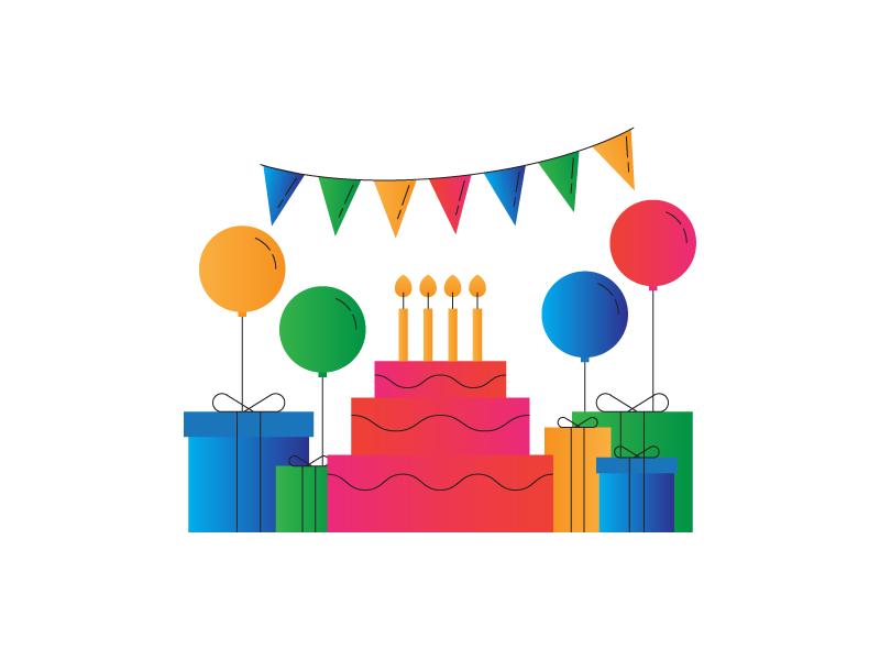 Happy Birthday! gradient illustration birthday party presents balloons birthday