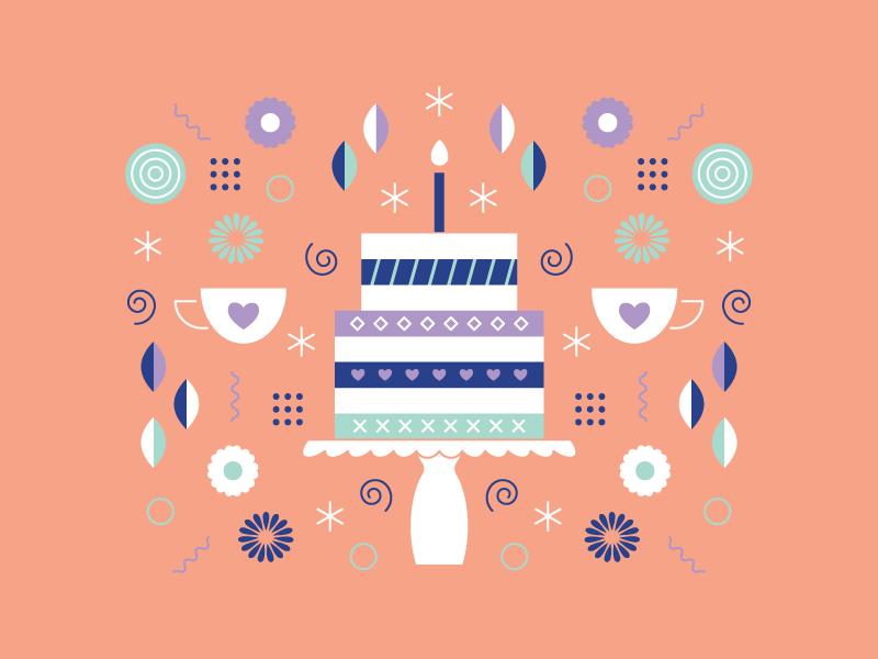 Tea Party Time illustration pattern birthday cake tea party