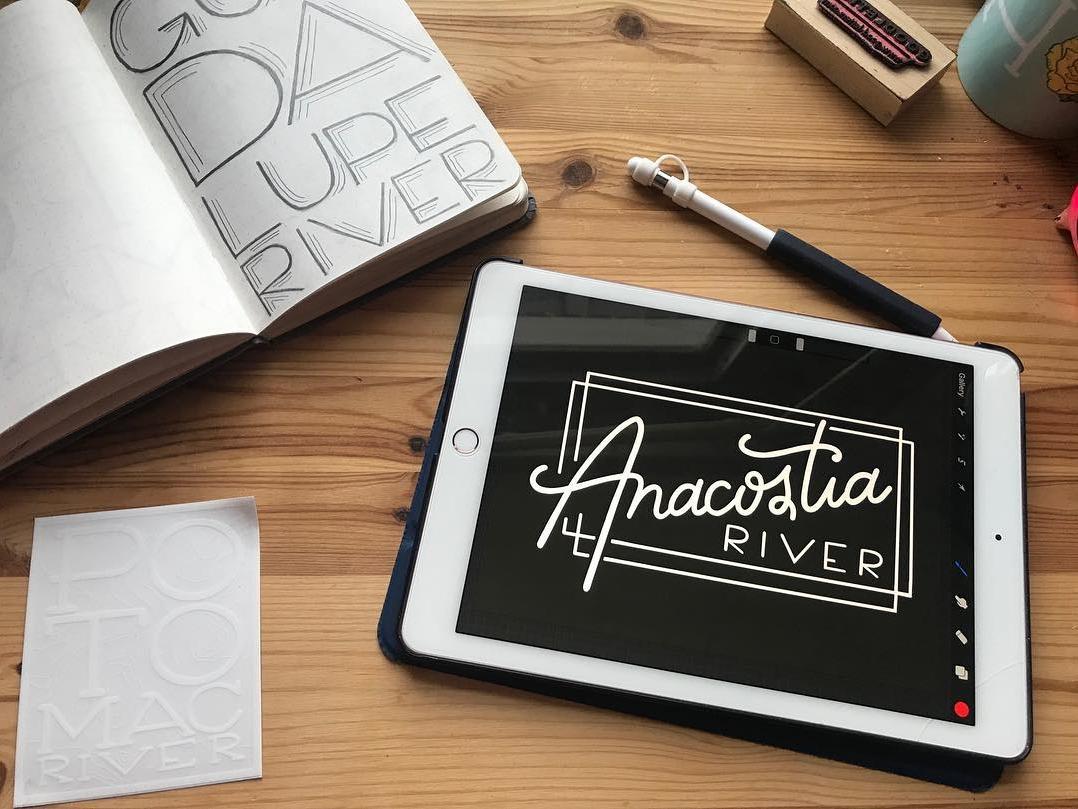 American Rivers, Anacostia homwork hand drawn branding sticker ink lettering procreate logodesign typography handlettering