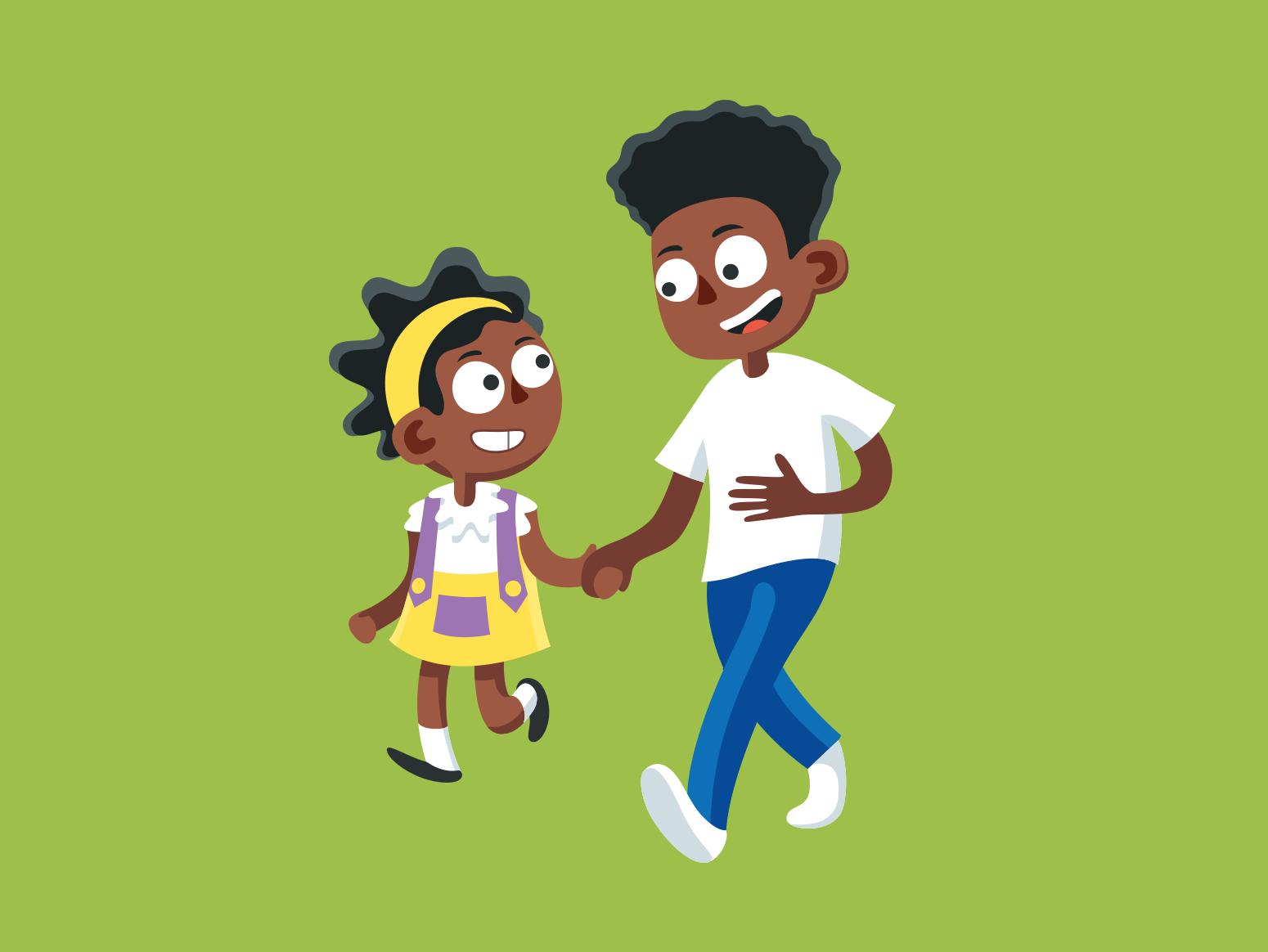 Brother and Sister colour childrens book children book illustration childrens illustration cartoon charcter digital art illustration vector illustrator