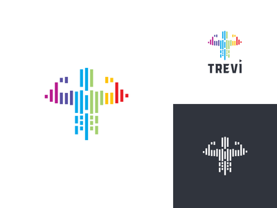 Trevi masculine abstract geometic icon music sport logo