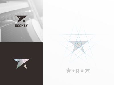 Rocksy r logo star logo logo band