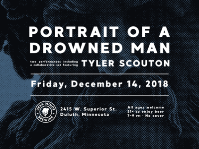 Portrait of a Drowned Man poster - 12/14/18 half tone poster gig poster