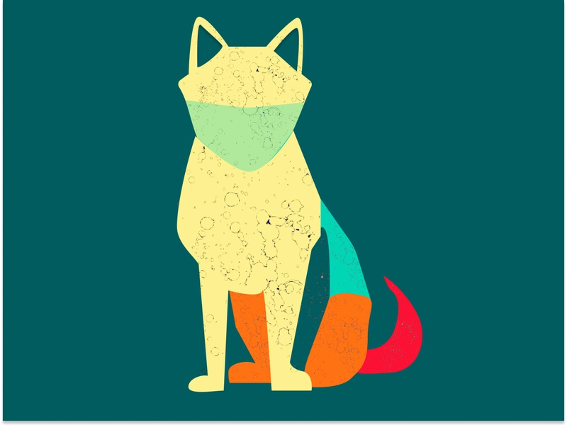 Covid Dog cartoon digital art vector illustration fun figma sketch design