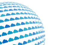 3d cloud icons on sphere
