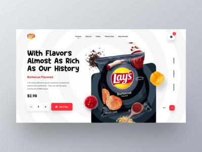 Lay's Web UI exploration food marketing webpage ecommerce homepage landing page website designer mockup section design website design uiux templates uicdesign product website flavor modern header chips