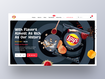 Lay's Web UI exploration 5 restaurant ecommerce food webpage homepage landing page webdesign mockup websites section design website design uiux templates uidesign product website flavor modern header chips