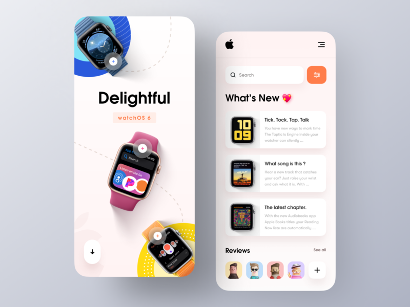 watchOS 6 Landing Page - Mobile Concept minimal app design applepencil apple ios mockup apple watch design responsive design smartwatch apple watch 2018 trends ui ux website design product web design landing page homepage ecommerce website