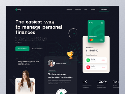 Money Management App landing money transfer finance app customer pay payment method uiux ui banking transaction payment money mockup typography marketing ux website design web design homepage landing page website
