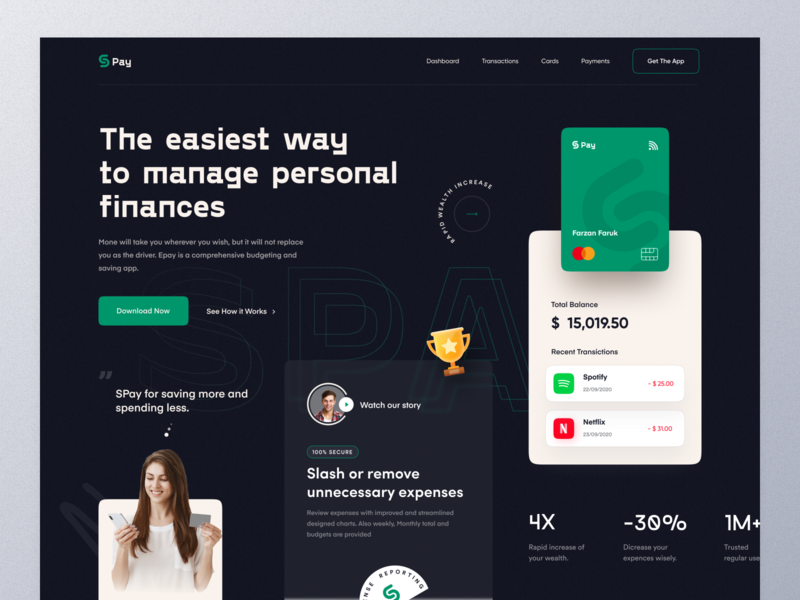 Money Management App landing finance app customer pay payment method uiux ui monet transfer banking transaction payment money mockup typography marketing ux website design web design homepage landing page website