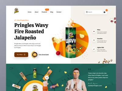 Pringles Website UI colorful design flavor snacks restaurant food pringles potato crisp chips marketing ux ui mockup website design web design product homepage ecommerce landing page website