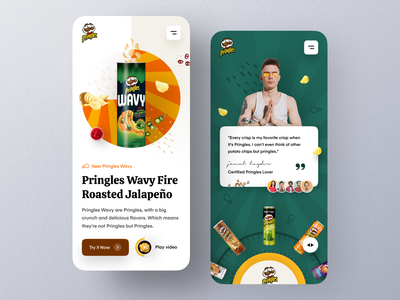 Pringles Website - Mobile version flavor mobile ui mobile design responsive design potato chips restaurant food snacks potato pringles typography ui ux mockup product web design ecommerce homepage landing page website