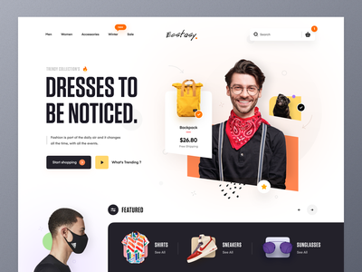 Clothing Store Web UI header payment method style shirt sneakers business online shopping shopping clothing store fashion typography ux ui website design mockup web design ecommerce homepage landing page website