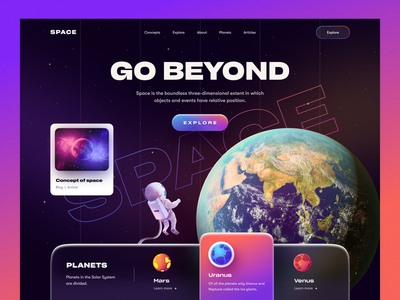 Space Web UI concept astronaut nasa learning platform planet website design illustration galaxy space marketing agency marketing typography product ui ux mockup web design ecommerce homepage landing page website