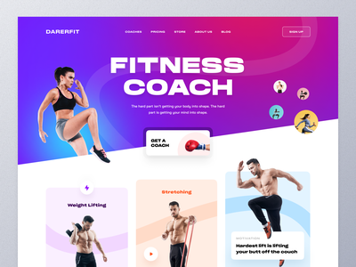 Fitness Web UI weightloss fitness club lifestyle coach health training bodybuilding workout gym fitness illustration typography ux ui mockup web design ecommerce homepage landing page website