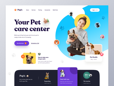 Pet Care Website petshop dog lovers catfood cat dog pet health health pet food pet care pet typography website design ui ux mockup web design ecommerce homepage landing page website