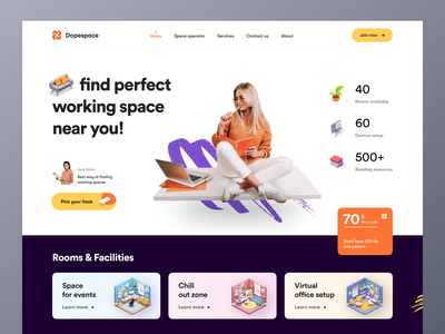 Coworking Space Landing page officespace agency workspace office startu coworking working from home shared space coworking space working space website design typography ui ux mockup web design ecommerce homepage landing page website