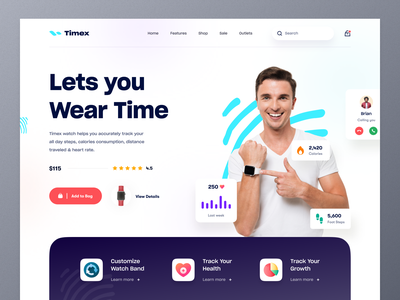 Smartwatch - Product Landing Page luxury watches wristband watches health tracker smart device wristwatch gear gadgets applewatch smartwatch website design typography ui ux mockup web design ecommerce homepage landing page website