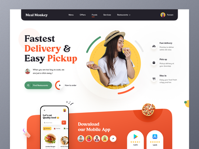 Food Delivery Landing page foodie food delivery application stayhome food and drink snacks food delivery website food delivery service food delivery restaurant food website design typography ui ux mockup web design ecommerce homepage landing page website