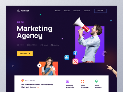 Marketing Agency Landing page seo online marketing digital marketing socialmediamarketing marketing site marketing agency top web design 2021 best website design best design 2021 trend marketing typography ux ui mockup web design ecommerce homepage landing page website