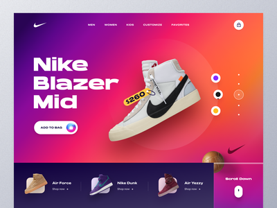 Nike Landing Page landing page design yezzy adidas fashion kicks footwear converse nike running nike shoes nike air sneakers nike ui ux mockup web design ecommerce homepage landing page website