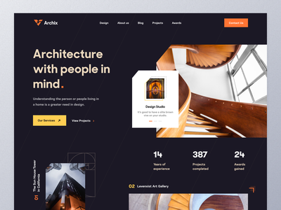 Architectural Studio - Landing page real estate property art civil engineering design studio architect interiors interior architecture interior design architecture design architectural architecture typography ui ux mockup web design homepage landing page website