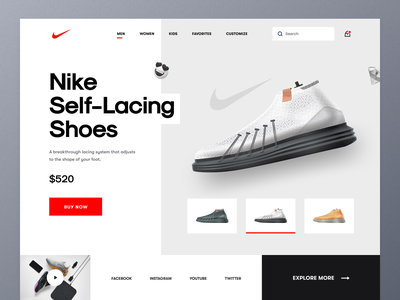 Nike Landing Page concept shoes store online shop kicks fashion clothing brand footwear adidas converse sneakers nike shoes product typography ui ux mockup ecommerce web design homepage landing page website