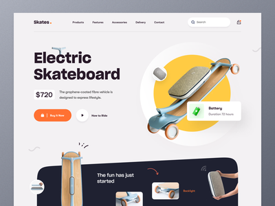 Electric Skateboard - Product Landing Page product landing page roller skate iceskating skater electric scooter electric car scooter skate skateboarding skateboard top ux ui designer best website design ux ui mockup ecommerce web design homepage landing page website