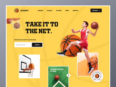Basketball Academy - Landing Page concept fitness nba nba poster football game learning training basketball school academy basketball player basketball sports ui ux mockup ecommerce web design homepage landing page website