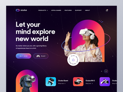 VR Store Website concept oculus headset experience video playstation game virtual reality vr vr design product website design typography ui ux mockup ecommerce web design homepage landing page website