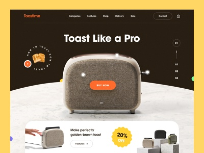 Smart Toaster - Product Landing Page homemade smart electronic blender food breakfasrt scion cooking accessories toast bread cooking marketing product landing toaster ecommerce mockup web design homepage landing page website
