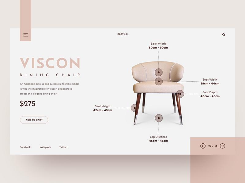 Conceptual web header exploration website web ux ui store shop product landing furniture e-commerce minimal