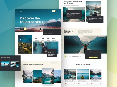 Travel Landing Page Exploration nature 2018 trends flight holiday tripadvisor minimal clean website design travel guide travel agency vacation web design ux landing page ui travel blog travel website landing page travel packages trip planner trip travel