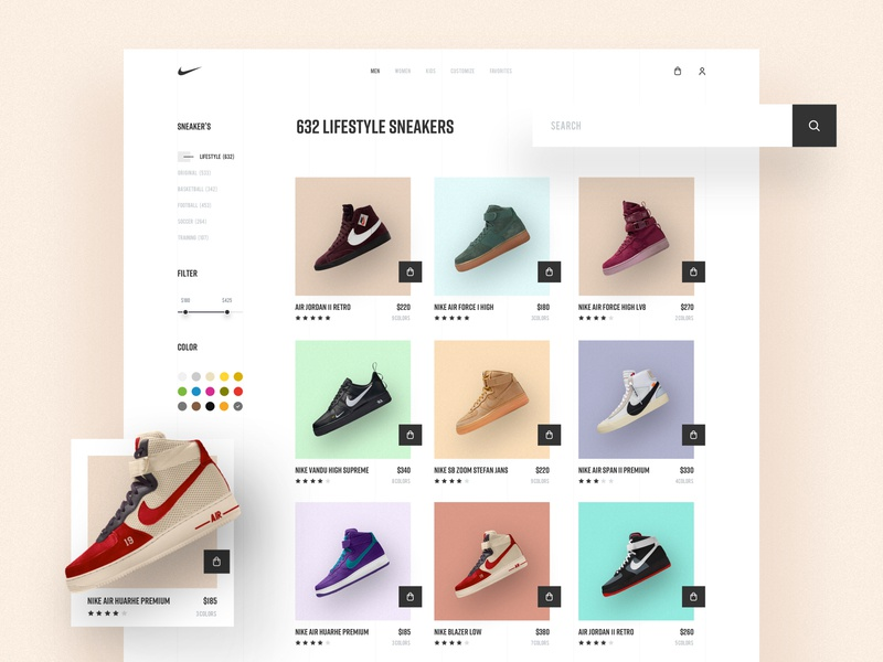 Nike - Product Page Exploration fashion app trainer sports footwear design website design lifestyle uidesign store shop cart ecommerce sneakers nike web design product landing page 2018 trends web ux ui