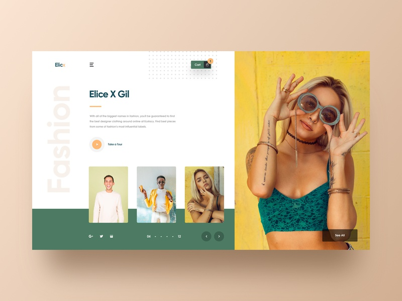 Elicx - Fashion Web UI industrial store shop model cart ecommerce web design colorful design fashion clothing store online shopping landing page 2018 trends hiwow