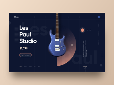 Gibson - Guitar Store Web UI les paul instruments dark illustration clea design marketing business 2018 trends music product colorful web design header gibson guitar shopping website landing page ecommerce hiwow