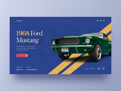 Mustang. header typography product illustration sportscar speed graphics web design agency colourful website vintage car classic car ford car mustang ecommerce hiwow website web design landing page 2018 trends