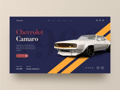 Chevrolet. homepage 2019 trends landing page web design website hiwow ecommerce car chevrolet classic car vintage car colourful website web design agency graphics speed sportscar header illustration product typography header