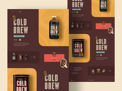 Cold Brew Coffee Landing Page redesign online shop coffee shop coffee website product website cart coffee bean marketing page clean app design 2019 trends theme webdesign website homepage ecommerce product landing page cold coffee cold brew coffee gradys cold brew coffee hiwow