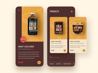 Product Page Exploration cold brew coffee coffee shop food app android app ios app mobile app web design agency cart ecommerce app business 2019 trends illustration ux ui product hiwow ecommerce website web design landing page