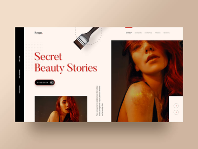 Rouge - Creative Blog animation beauty homepage interaction website web design ui  ux design animation single blog publication makeup makeover landing page fashion creative  design hiwow blog post magazine blog article 2019 trend