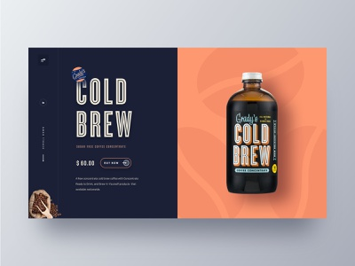 Cold Brew Coffee web UI clean app design website web  design theme redesign product website product landing page online shop marketing page homepage hiwow gradys cold brew coffee ecommerce cold coffee cold brew coffee coffee website coffee shop coffee bean cart 2019 trends