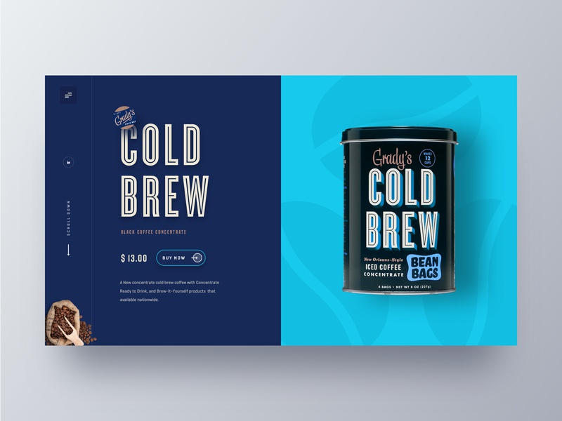 Cold Brew Coffee web UI website webdesign theme redesign product website product landing page online shop marketing page homepage hiwow gradys cold brew coffee ecommerce cold coffee cold brew coffee coffee website coffee shop coffee bean clean app design cart 2019 trends