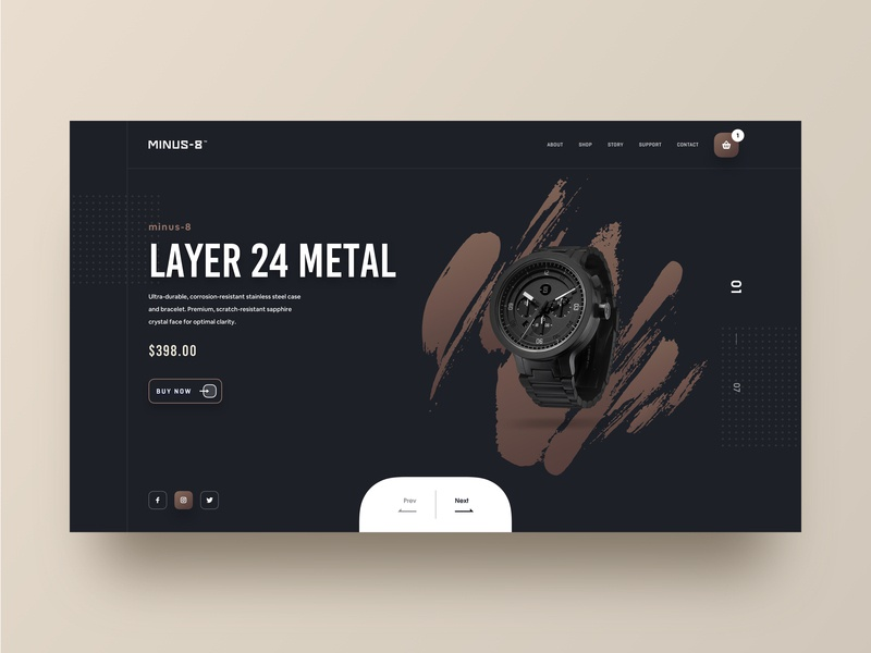 MINUS-8 website webdesign watch store watch shop watches typography smartwatch technology apple shopping product designer marketing landing page industrial store shop illustration hiwow fashion wear clock watch time ecommerce design ui ux clean black dark cart 2019 trends