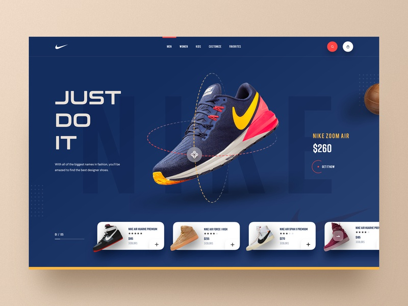 Nike Website Design V-2 2019 trends cart ecommerce footwear hiwow running shoe nike product website shoe shop sneakers shop sportswear trainer shop landingpage uidesign uxdesign uiux homepage webdesign