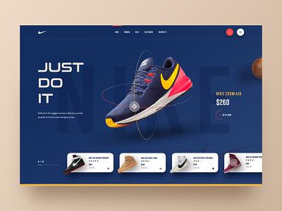 Nike Website Design V-2 2019 trends cart ecommerce footwear hiwow running shoe nike product website shoe shop sneakers shop sportswear trainer shop landingpage uidesign uxdesign uiux homepage webdesign