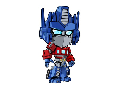 Little OP vector art robots illustration optimus prime transformers