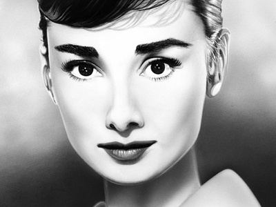 Audrey Hepburn audrey hepburn black and white art illustration air brush portrait