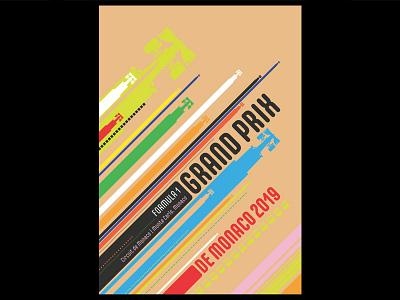 Grand Prix Monaco typography fonts art bauhaus design poster grand prix