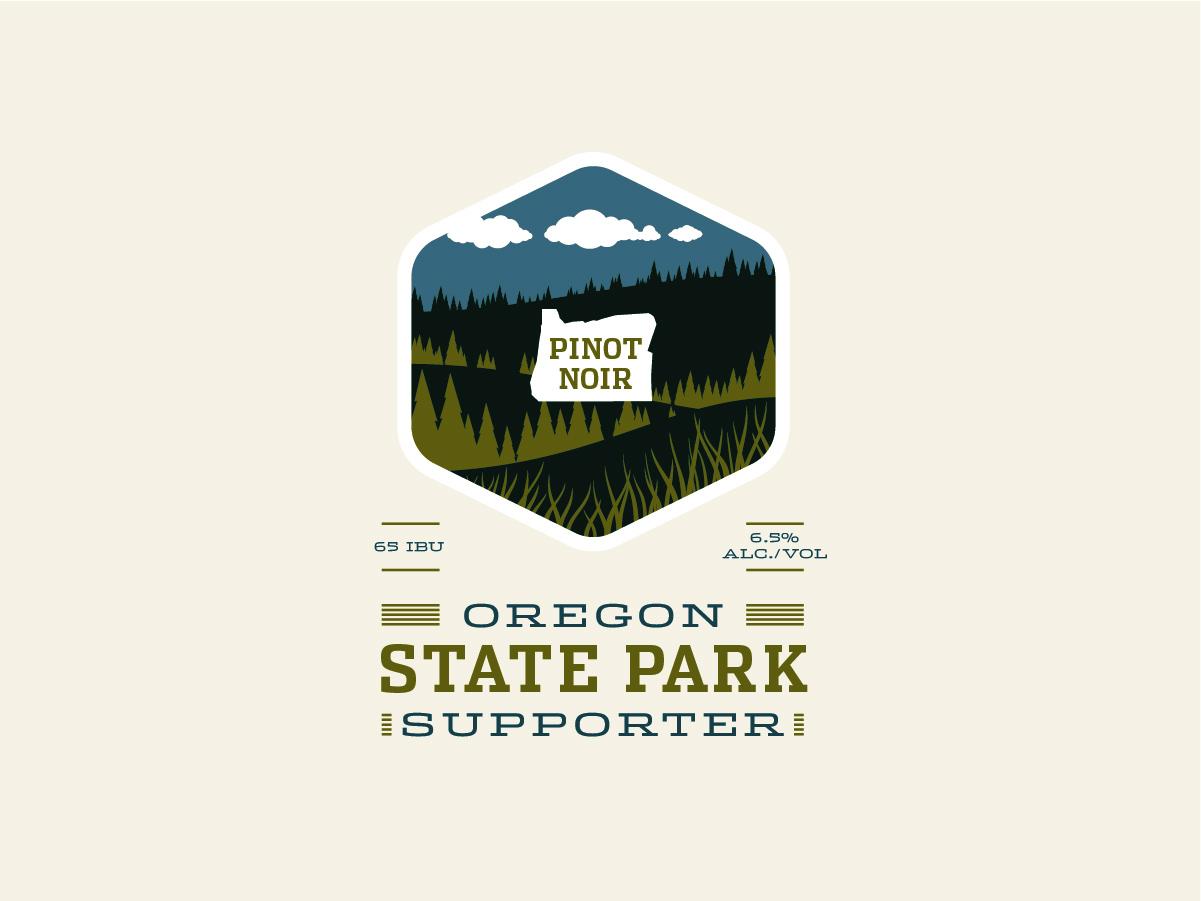 Oregon State Parks Collaboration wine label collaboration state park oregon noir pinot print design packaging